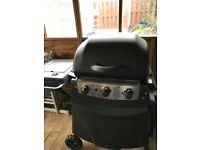 Blooma 3 burner gas BBQ in black, wheel mounted plus hob and shelf