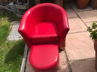 Kids faux red leather tub chair and footstool