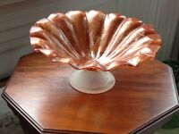 LARGE MURANO GLASS CENTREPIECE TORTOISESHELL MARBLE EFFECT PEDESTAL BOWL