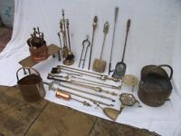 Collection of Old Brass Fireplace Items. Price Listed is for The LOT.
