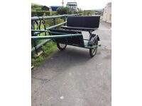 Factory made exercise cart and black leather harness