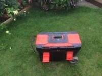 Large wheeled tool box with handle