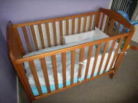 Cot bed with mattress and bedding £50