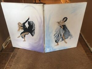 Hinged painting of dancers