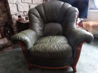 One Green Leather Armchair for sale