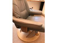 Soft Leather reclining swivel chair. Hardly used