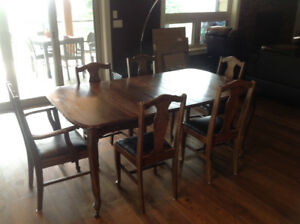 Antique oak dining table and chairs