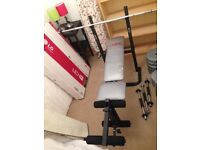 York 500 Weight Bench, barbell, dumbells and weights