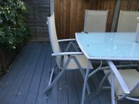 Patio table and chairs x6