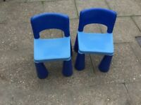 2 garden chairs in blue colour