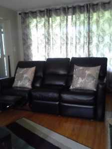 Leather reclining sofa & chair