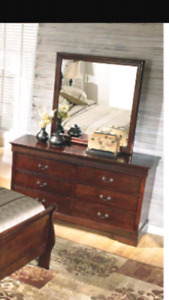 Double size ashley bedroom set (bed mattress dresser and mirror)