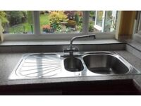 Sink, kitchen, stainless steel Franke, bowl & 1/2, plus mixer tap.