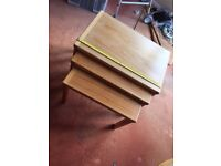 Handsome nest of three contemporary Danish teak coffee side tables 62cm wide
