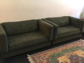 PAIR of two seater sofa FREE delivery within Brighton Area