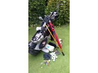 SET RIGHT HAND GOLF CLUBS, BAG AND TROLLEY
