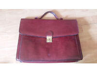 Vintage red leather document satchel