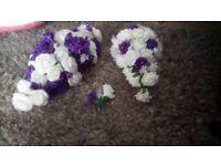 Cadbury purple and white wedding flowers