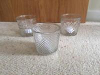 Clear glass candle holders with led tea lights and batteries 15 available