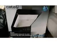 Designer Angled Glass Hood & Black Glass Splashback - Cata 60cm New.