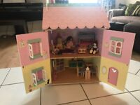Wooden 3-Story Doll House with furniture and dolls included
