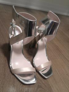 BCBG Mettalic Silver Heels