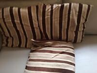 3 brown beige reversible cushions