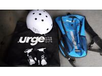 Urge Activist helmet, hydration back pack and Madison gloves.