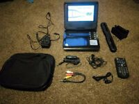 "7"" Portable DVD player with all accessories"