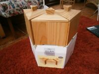 New, boxed, Tea/Coffee/Sugar Pine Containers