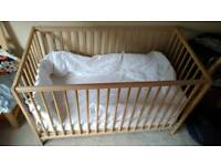 IKEA wooden cot with mattress