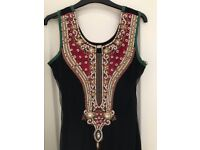 Embroidered Black Net Indian Frock Suit