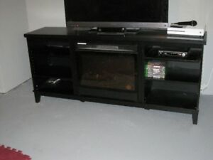 Fireplace black color with multiple shelfs