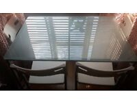 Clear Glass Dining Table & 4 Chairs