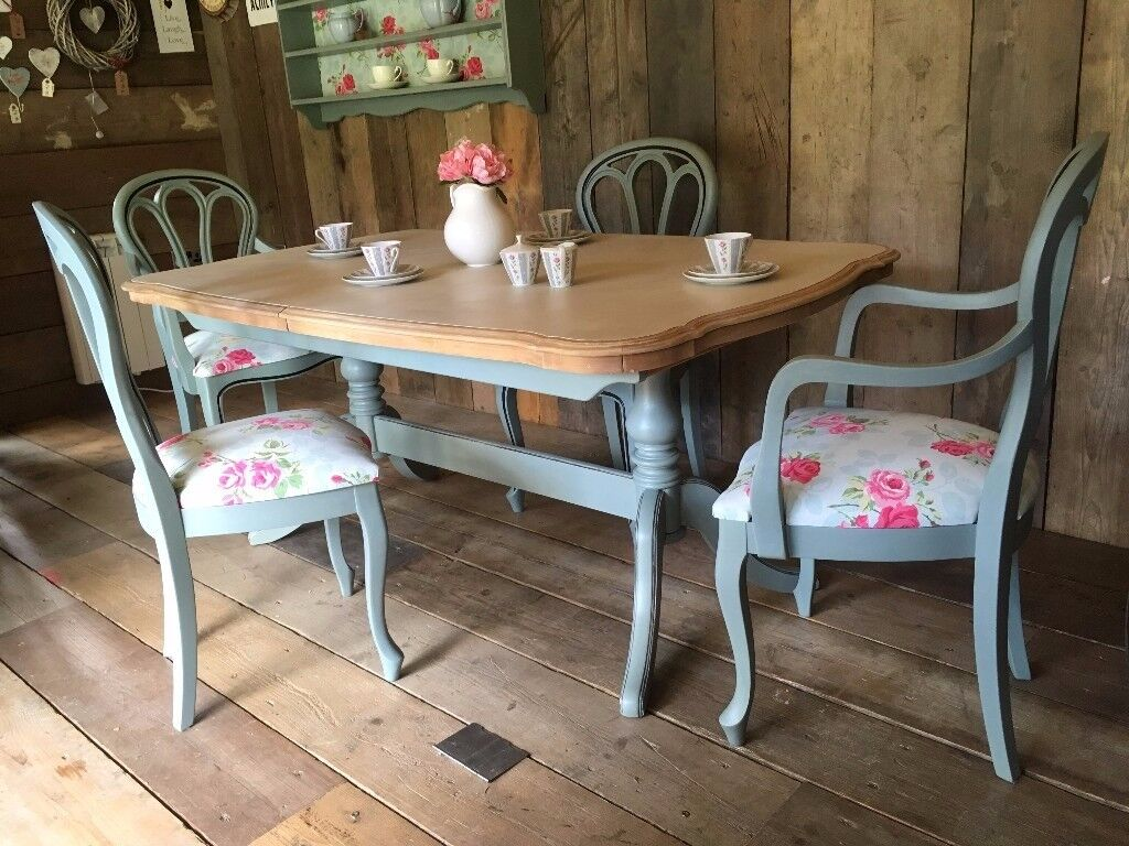 Upcycled shabby chic painted dining table and 4 chairs for Painted dining tables and chairs