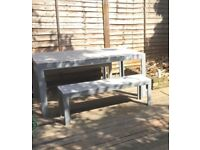 Garden table 160x100 cm and 2 benches 130 cm - ikea Falster
