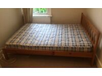 Wooden Double Bed with Spring Mattress - Good Condition