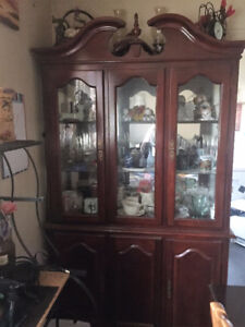 Antique Red Cherry Wood Buffet and Hutch