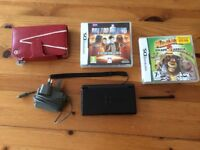Nintendo DS Lite with games, case and charger