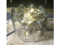 Brass ceiling light with 9 hanging glass panels and 4 lamps