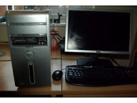Dell inspiron 530 desktop with flat screen monitor, mouse and keyboard