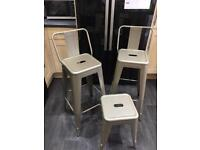 Pair of Champagne/Copper Metal Bar Stools