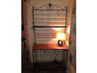 Glass dining table with 6 chairs and wine rack unit