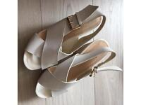 White crossover wedges size 6