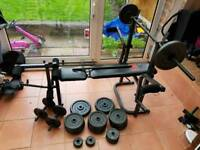 Foldable weights bench with 118kg of weight