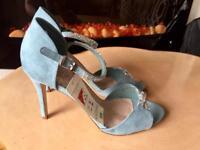 NEW M&S ladies blue heel shoes wedding party 7.5