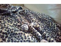Leopard Print hood faux fur coat