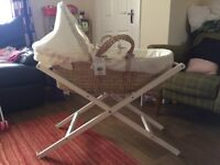 Mamas and papas Moses basket with additional stand and bumbo