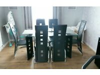 3 month old glass dining table with 6 chairs