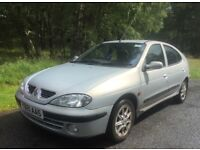 2001 Renault Megane 1.4 Petrol manual 5dr. Economical and reliable. Cheap car. Needs a little work.